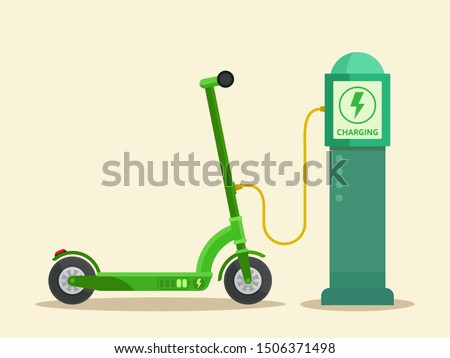 Public scooter charging station. Electric scooter battery charger. Ecological city transport. Vector illustration, flat design. Isolated background.