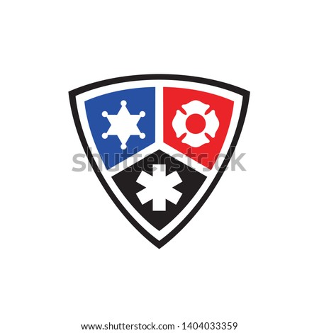 Public secure badge emblem flat color logo design with police, medical and firearms icon Сток-фото ©
