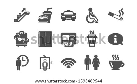 Public services icons. Elevator, Taxi and Wifi internet. Fast food classic icon set. Quality set. Vector