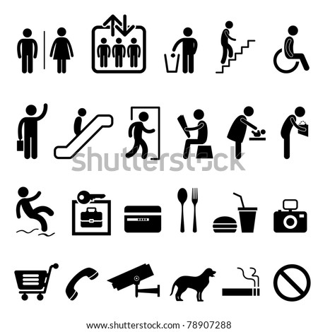 Public Sign Shopping Center Commercial Building Icon Symbol