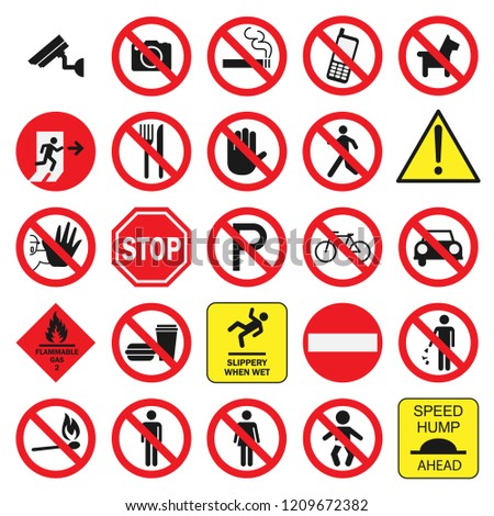 public signs vector collection set, glyph style, modern design