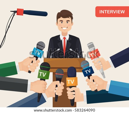 Public speaker and hands of reporters with tv microphones. Breaking news, press conference, mass media, journalism, interview concept. Vector illustration. Flat cartoon design
