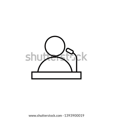 Public speaker linear vector icon. Orator, protest, meeting leader thin black line illustration. Political public speech outline drawing. Politician, protester isolated contour symbol.