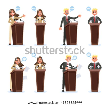 Public speaker set. Business character standing in a suit at the tribune and make speech. Orator speaking. Vector illustration in cartoon style