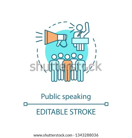 Public speaking concept icon. Oratory and communication. Public relations. Speaker, orator. Performing speech to audience idea thin line illustration. Vector isolated outline drawing. Editable stroke