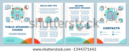 Public speaking course brochure template layout. Professional speakers classes. Flyer, booklet, leaflet print design with linear illustrations. Vector page layouts for magazines, reports, posters