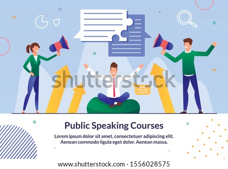 Public Speaking Courses, Business Leadership Seminar Trendy Flat Vector Advertising Banner, Promo Poster with Business Trainer Teaching Students Art of Oratory and Confidence Confidence Illustration