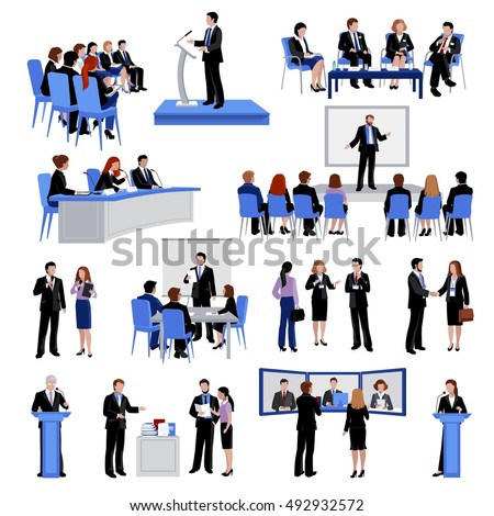 Public speaking people flat icons collection with conference meetings and workshop presentations abstract isolated vector illustration