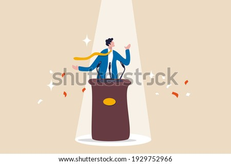 Public speaking skill, confident, charisma, hand gesture, voice and expression to win the audience concept, confidence businessman speaking in public on stage with podium, microphones, spotlight on.