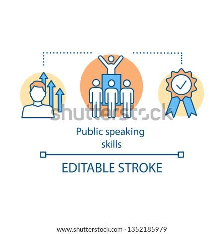 Public speaking skills concept icon. Protest leader, politician. Orator, speaker, presenter. Communication skills idea thin line illustration. Vector isolated outline drawing. Editable stroke