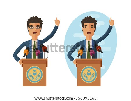 Public statement. Orator speak from tribune. Vector flat illustration