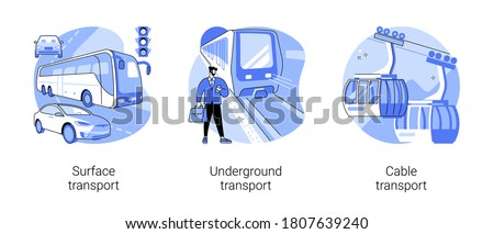 Public transport abstract concept vector illustration set. Surface, underground and cable transport, road and highway, trolleybus, bus stop, subway train station, passenger traffic abstract metaphor.