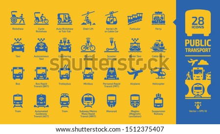 public transport blue icon set
