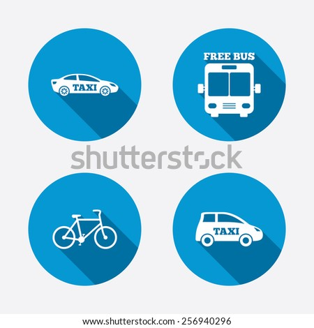 Public transport icons. Free bus, bicycle and taxi signs. Car transport symbol. Circle concept web buttons. Vector