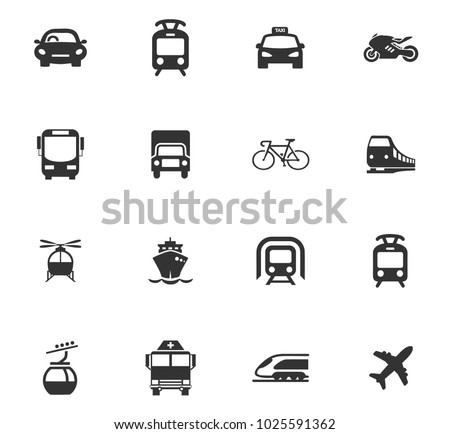 Public transport icons set for web design