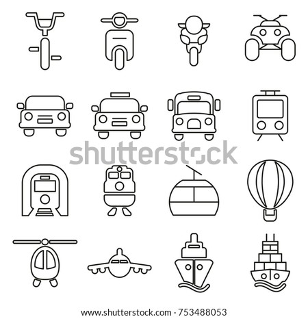 Public Transport Icons Thin Line Vector Illustration Set