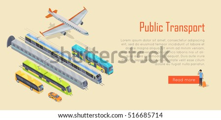 Public transport infographic. Plane. Bus. Trolleybus. Electric train. Metro train. Statistics of usage. System concept Vector