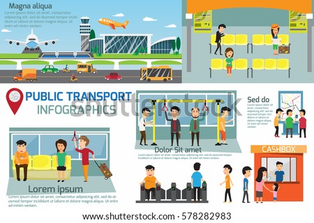 Public transport infographics. Detail of public transportation with commuters or passengers activities in subway and terminal. vector illustration