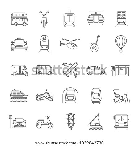 Public transport linear icons set. Thin line contour symbols. Water, land and air vehicles. Modes of transport. Isolated vector outline illustrations. Editable stroke