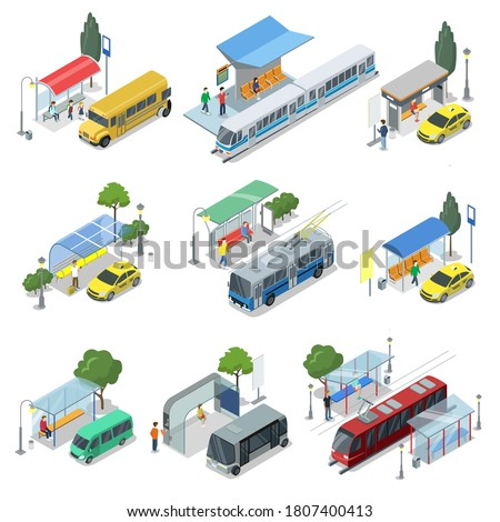 Public transport. Modern town waiting station and public transport for passenger transportation. Bus, taxi car, tramway, trolleybus, subway train vector illustration. Isometric set isolated on white