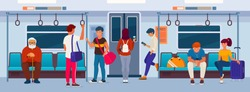 Public transport passengers. Men and women sit and stand in a modern subway wagon. Flat vector illustration