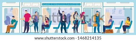 Public Transport Passengers Traveling Modern Metropolis Flat Vector Concept with Female, Male Characters Standing, Sitting on Seats in Tram or Subway Wagon, People Moving in City Bus Illustration