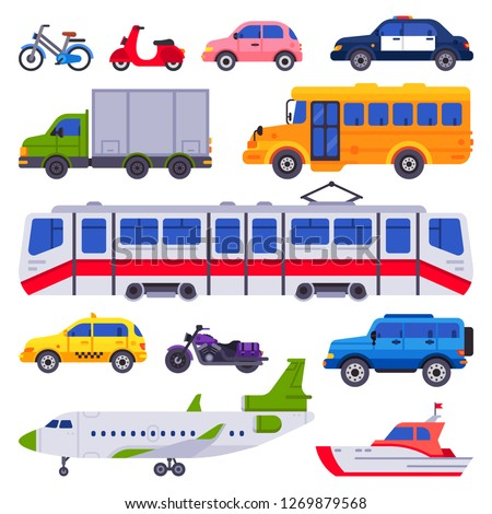 Public transport. Taxi car vehicle, city train and urban transporter. Road transport tram, train motorcycle and plane. Transportation isolated cars vector icons collection
