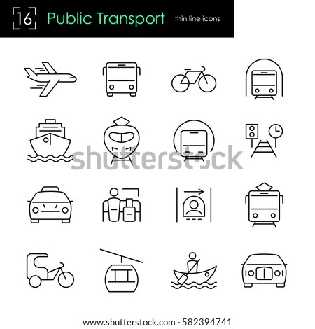 Public transport thin line icon set. Global passenger traffic and traveling related items. Vector outline stroke.