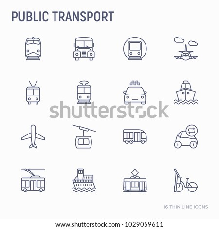 Public transport thin line icons set: train, bus, taxi, ship, ferry, trolleybus, tram, car sharing. Front and side view. Modern vector illustration.