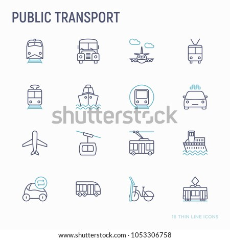 Public transport thin line icons set: train, bus, taxi, ship, ferry, trolleybus, tram, car sharing, bicycle. Front and side view. Modern vector illustration. #1053306758