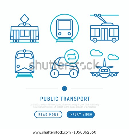 Public transport thin line icons set: train, trolleybus, tram, car sharing, airplane. Modern vector illustration, web page template.