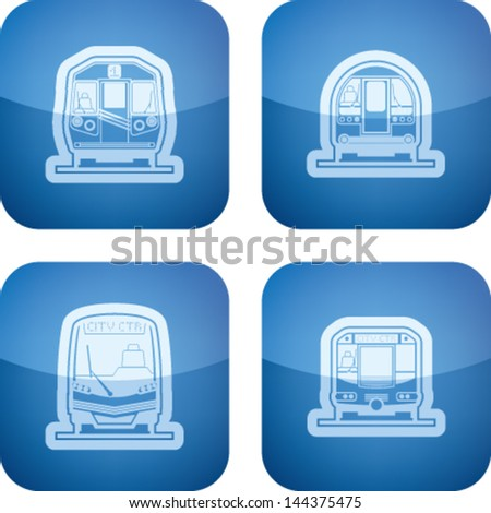 Public transport - various land vehicles, pictured here from left to right, top to bottom:  Subway train, Old fashion subway train, Modern subway train, Subway train.