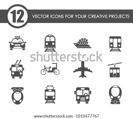public transport vector icons for your creative ideas