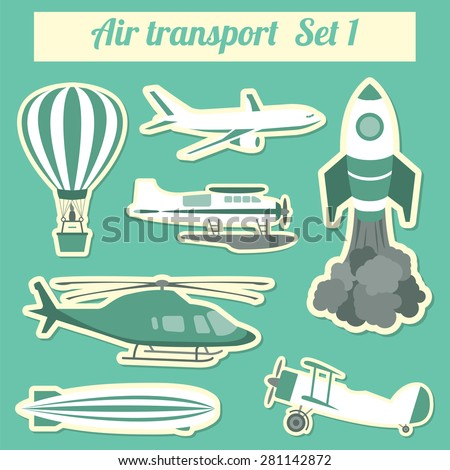 Public transportation, air transportation. Icon set. Vector illustration