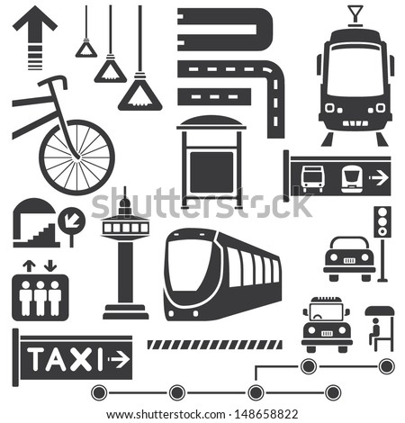 public transportation icons set, vector