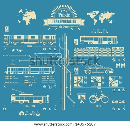 Public transportation info graphic,city, vector background,
