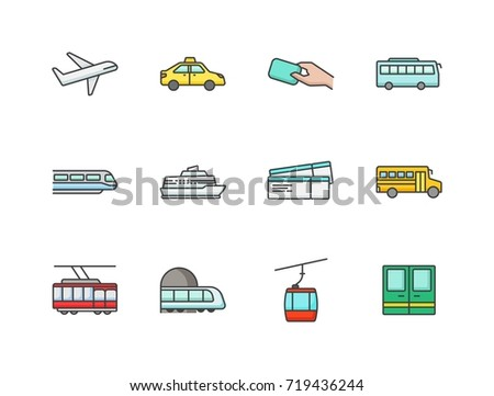 Public transportation related colored flat line icons set with airplane, taxi, bus, card, train, cruise liner, tickets, school bus, tram, subway, cable car. #719436244