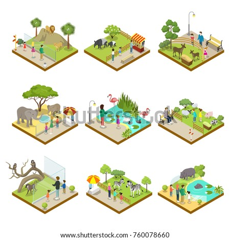 Public zoo with wild animals landscapes isometric 3D set. Lion, monkey, hippopotamus, zebra, tapir, deer, flamingo, elephant, sheep in cages. Zoo infrastructure elements for design vector illustration