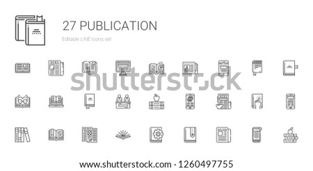 publication icons set. Collection of publication with newspaper, book, open book, news, books. Editable and scalable publication icons.