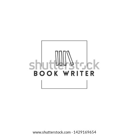 Publishing, writing and copywrite theme. Hand drawn vector logo template with books in a in square shape. For business identity and branding, for writers, copywriters and publishers.