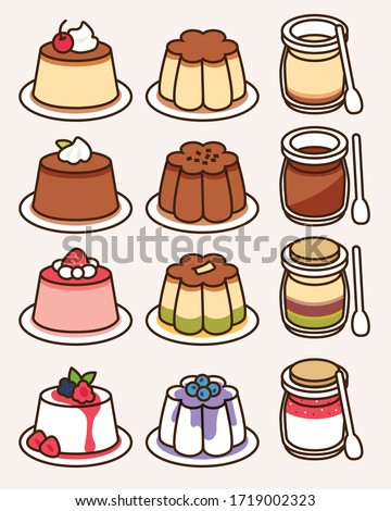 Pudding and panna cotta collection with different flavors and shapes: custard with caramel, chocolate and cream, green tea, mix berries. Traditional sweet dessert icon vector  illustration flat design Stock photo ©