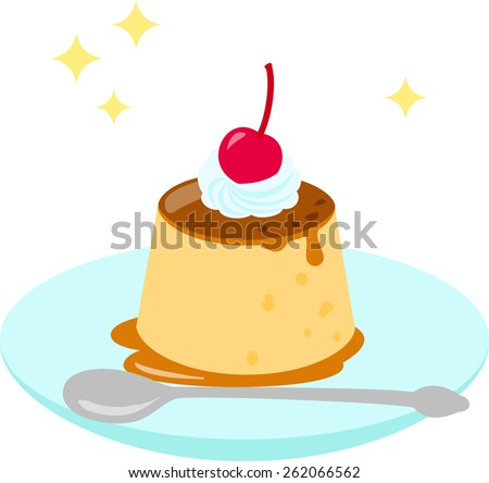 pudding with fresh cream and a