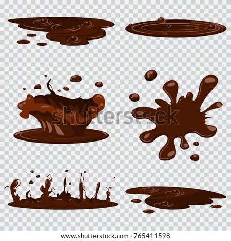 Puddle mud vector cartoon set isolated on transparent background. Chocolate splash icon collection. Stock photo ©