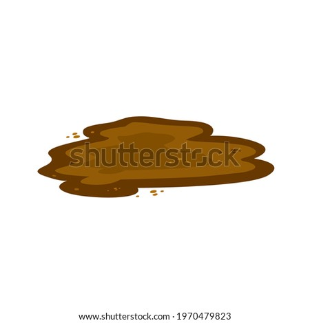 Puddle of mud with mud droplets. Healing mud is good for your health. Mud to create a face mask, health and beauty. Vector flat illustration, cartoon style. Stock photo ©