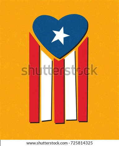 Puerto Rican flag with blue area forming a heart shape. Hurricane relief for Puerto Rico Foto stock ©