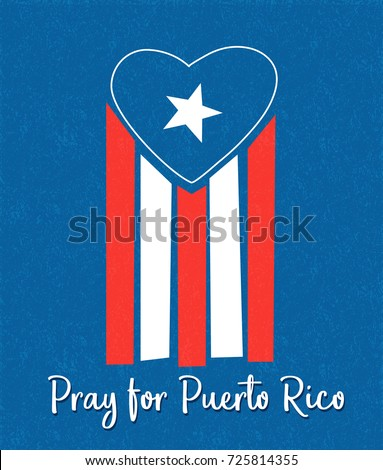 Puerto Rican flag with blue area forming a heart shape. Pray for Puerto Rico.  Foto stock ©