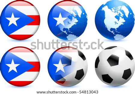 Puerto Rico Flag Button with Global Soccer Event Original Illustration