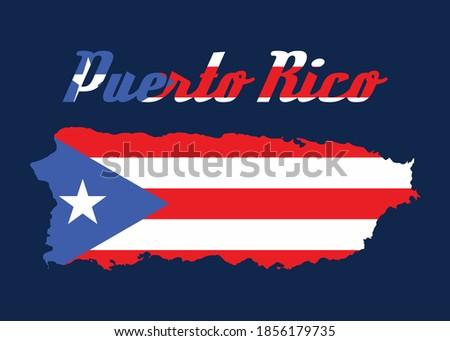 Puerto Rico flag map vector design Foto stock ©