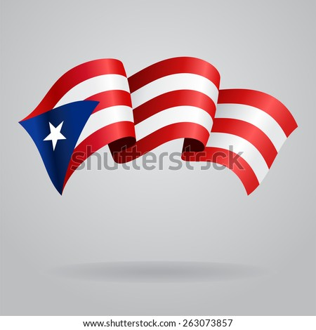 puerto rico waving flag vector