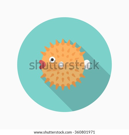 puffer fish flat  icon with
